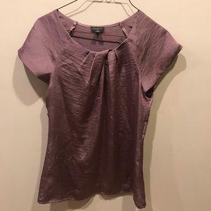 Ann Taylor Twisted Neckline Short Sleeve Blouse S2